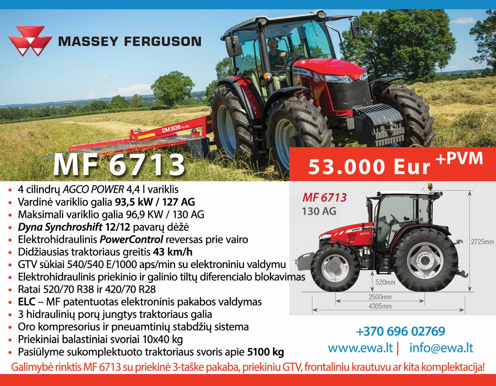 Massey Ferguson 6713 traktorius